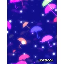 Notebook: Colorful Umbrellas, Blank Unlined / Non-ruled Notebook - (Letter size 8.5 x 11 Inches) 100 Pages - 550