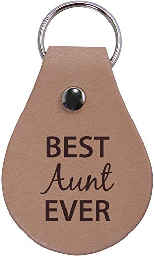 CustomGiftsNow Best Aunt Ever Genuine Leather Key Chain with Keyring