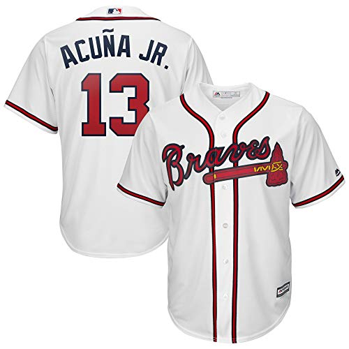 Outerstuff Youth Kids Atlanta Braves 13 Ronald Acuna Jr 2019 Baseball Jersey White Size 18-20 XL