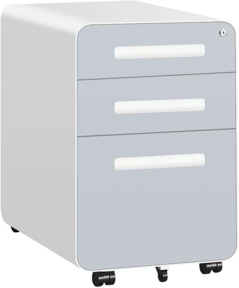 Black Fully Assembled Except Wheels Bears to 330lbs Modern 3 Drawers Mobile File Cabinet with Lock Anti-tilt Metal Filing Cabinet Legal Letter Size with Lockable Caster