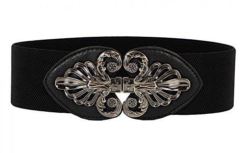 Retro Belts for Women Elastic Band Cinch Belt Wide Pirate Belt Metal waistband