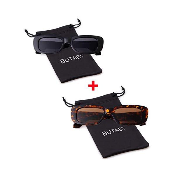 BUTABY Rectangle Sunglasses for Women Retro Driving Glasses 90/'s Vintage Fashion Narrow Square Frame UV400 Protection