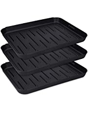 Navaris Set of 3 Shoe Drip Trays - Multi-Purpose Boot Tray for Rain Boots, Winter Boots, Sneakers - for Indoor and Outdoor Use in All Seasons - Small