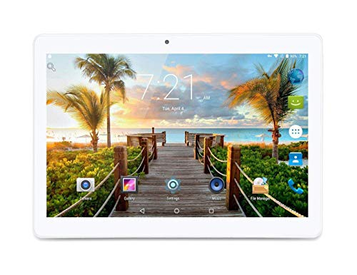- 10 Inch Android 7.0 Nougat Tablet IPS Glass Screen with Dual Sim Card Slots Octa Core 3G Unlocked Phone 4GB RAM 64GB ROM Built in WiFi Bluetooth GPS Netflix (Silver)