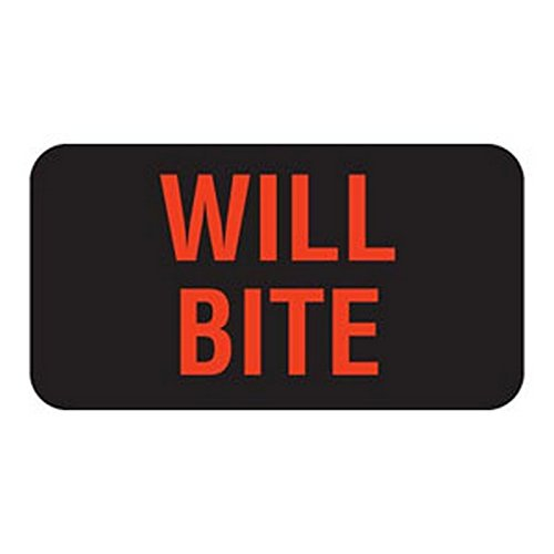 Will Bite 1-5/8'' x 7/8'' Black Fl-Red Print Label (Roll of 560)