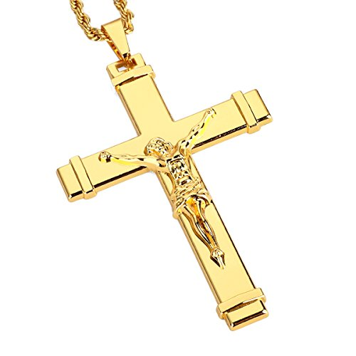 Crucifix Necklace For Men Gold Jesus Cross Pendant Chain