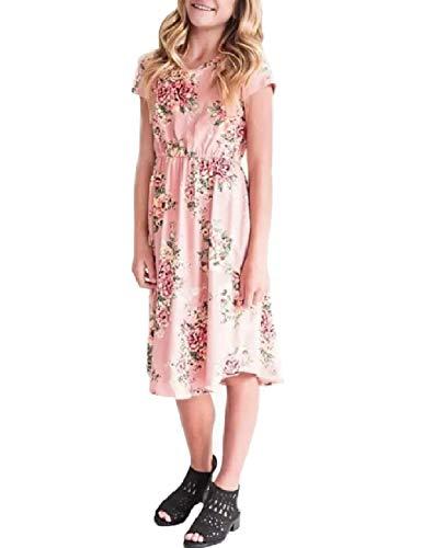 (Girls Floral Maxi Dress Kids Summer Casual Pocket Pink Short Sleeve Tshirt for Girls,Pink,10)