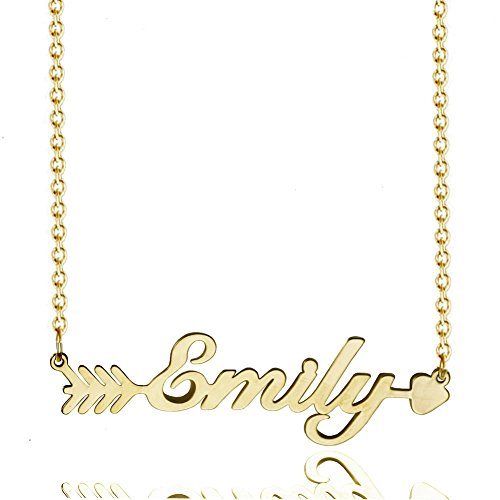Custom Name Pendant Necklace Gold Personalized Nameplate Choker Necklace Chain Women Dainty Jewelry (Emily (Gold Nameplate Necklace Pendant)