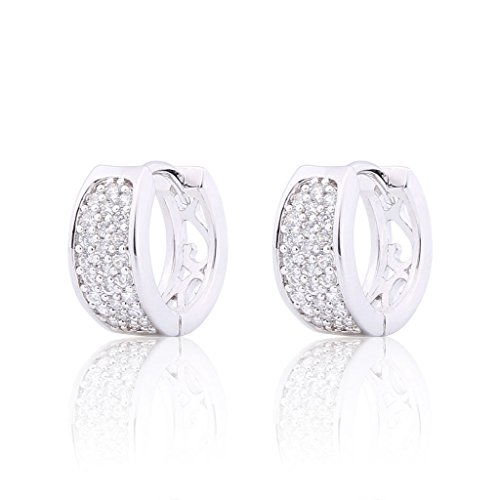 Price comparison product image GULICX Women's Jewellery 3 Row Hoop Pierced Huggie Earrings with Clear Cubic Zirconia Silver Tone