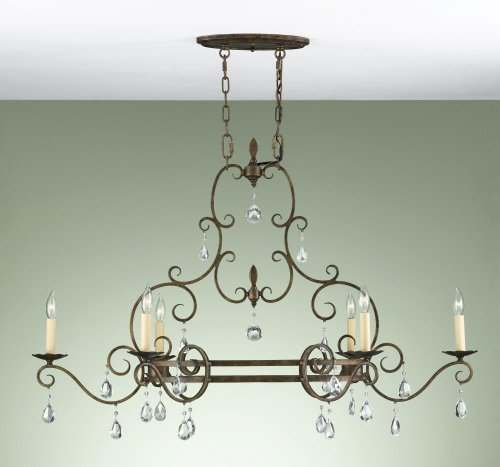 Mocha Bronze Finish Chandeliers - Feiss F2304/6MBZ Chateau Collection 6-Light Chandelier, Mocha Bronze with Prismatic Glass Crystals