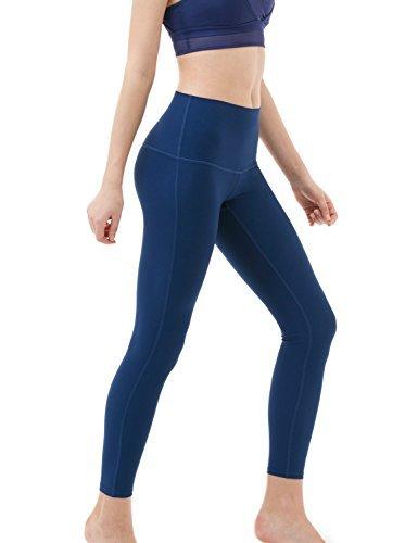 TSLA TM-FYP52-NVY_Medium Yoga Pants High-Waist Tummy Control w Hidden Pocket FYP52