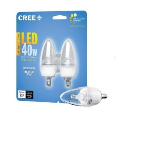 8-Pack Cree 40W Equivalent Soft White Dimmable Clear B13 LED Candelabra Light Bulb