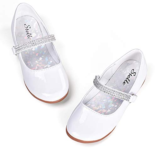 STELLE Girls Mary Jane Shoes Slip-on Party Dress Flat for Kids Toddler (10MT, White)