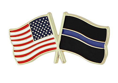 Thin Blue Line USA Flags Pin (1 Pin) Blue Usa Pin