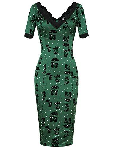 MUXXN 1950s Retro Vestido V-Neck para Mujer Verde