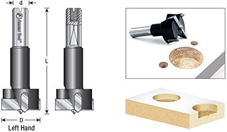 Amana Tool 203165 Carbide Tipped Hinge Boring Bit L//H 16mm Dia x 57mm Long x 10mm Shank