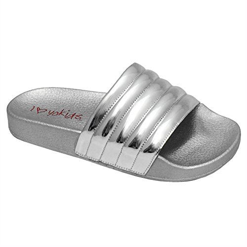 Rio-107K Sandals, Slippers, Girls and Boys Slip on Metallic Pool Slides with a Quilted Upper (2, Silver) (Slipper Silver)