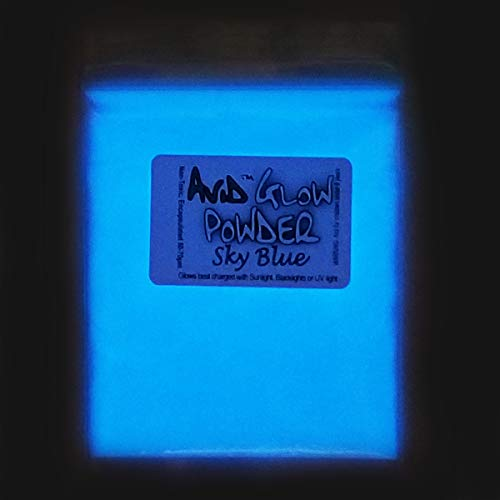 (Sky Blue Glow Powder -Neutral in Daylight 1oz (30g); - Glow in The Dark Pigment Powder for Resin, Slime, Nail Polish, Paints, Coatings, Acrylic Powder; Premium Encapsulated Strontium Aluminate)