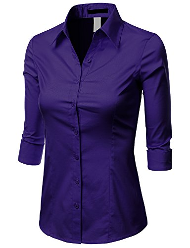 06d76b6ea8e Doublju Womens Unique 3 4 Sleeve Regular Fit Button Down Plus Size Shirt  VIOLET