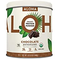 ALOHA Organic Chocolate Plant Based Keto Friendly Protein Powder with MCT Oil, 19 oz, Makes 15 Shakes, Vegan, Gluten Free, Non-GMO, Stevia Free & Erythritol Free, Soy Free, Dairy Free & Only 4g Sugar