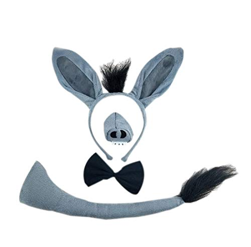 3PCs Kids Funny Rabbit Pig Wolf Kangaroo Zebra Costume Headband with Tail Tie (Grey Donkey)]()