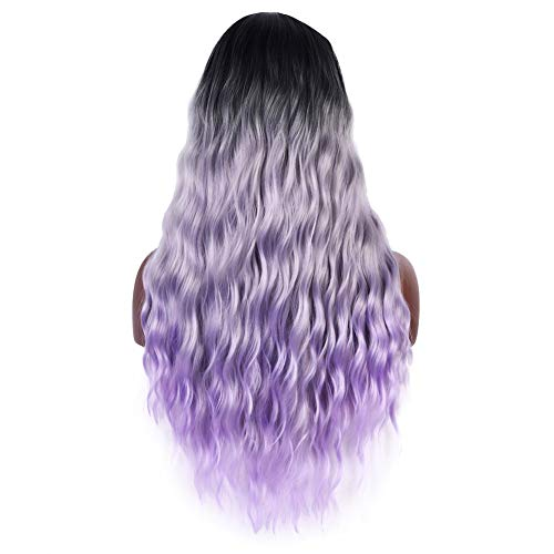 26 inches (66cm) Long Light Purple 3 Tones Ombre Hair Wig For Women, Dark Roots Natural Wavy Purple Wig With Parting Long Colorful Curly Wigs