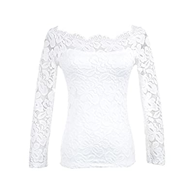 Maggie Tang Women's Off Shoulder Long Sleeves Floral Lace Twin Set Top at  Women's Clothing store
