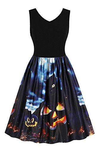 Women's Halloween Scary Bat Pumpkin Spider Smock Skater Swing Dress(Pumpkins,M)]()