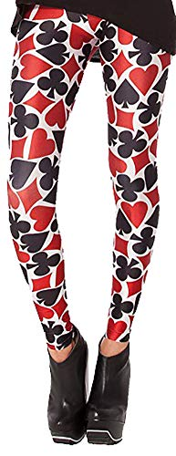 Sister Amy Women's High Waist Spade/Heart/Diamond/Club Printed Ankle Elastic Tights Legging -