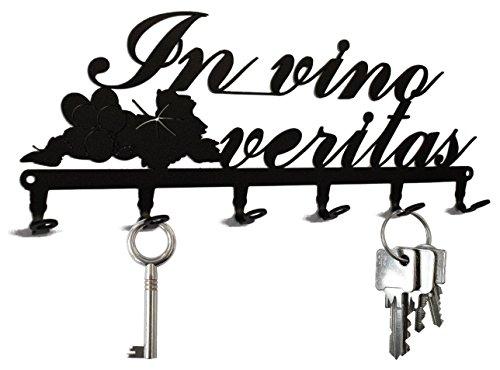 In Wine There Is Truth / In vino veritas - Key Holder, Hooks, Hanger, Metal, Black (Send Wine In The Mail)