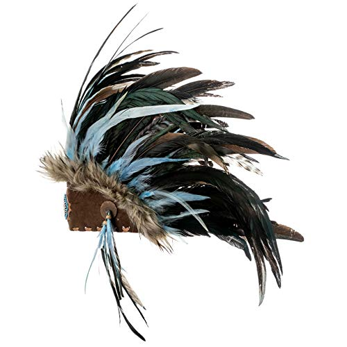 Novum Crafts Feather Headdress | Native American Indian Inspired | Turquoise (Indian Costume Feathers)