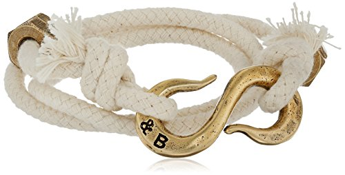 Giles and Brother Solid Ivory Rope 'S' Brass hook Classic Wrap Bracelet, 22