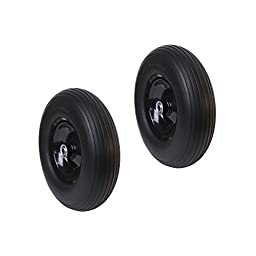 ALEKO 2WBNF13 Anti Flat Replacement Ribbed Wheels for Wheelbarrow 13 Inch No Flat Tires, Set of 2, Black