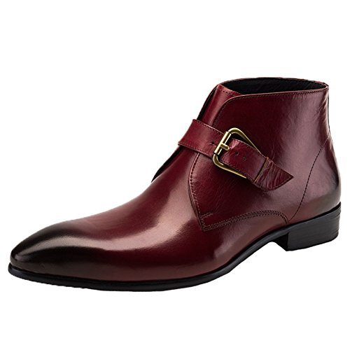 Pointed men's fashion formal leather boots ankle boots - 8