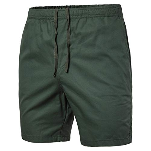 (YAYUMI 2019 Summer Men Casual Solid Color Beach Casual Trouser Vacation Strap Elastic Surf Shorts Army Green)