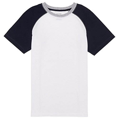French Toast Boys' Little Short Sleeve Colorblock Raglan Tee, White 7 ()