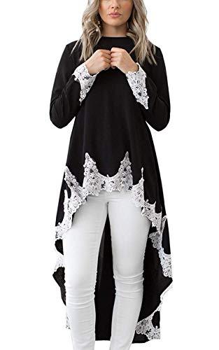 (Womens Blouses and Tops Black Lace Crochet Long Sleeve Asymmetric High Low Club Shirt Dress S)