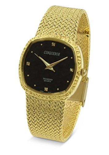 Conqueror Gold-Tone Watch with Mesh Bracelet and Diamond Unisex Quartz Dress Square