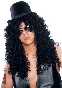 Black Curly Wig Costume (Costume Culture Men's Curly Rocker Wig Deluxe, Black, One Size)