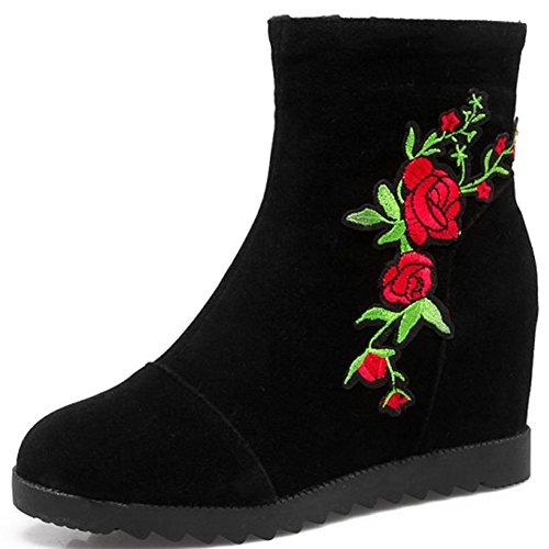 Aisun Damen Rund Zehe Stickerei Blumen Unsichtbar Keilabsatz Kurzschaft Reißverschluss Stiefel Rot 39 EU ON2iKnyy