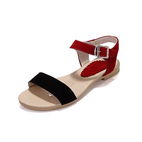 VogueZone009 Womens Open Toe Flats Xi Shi Velvet Frosted Solid Sandals with Buckle Red bCPGlJtmG