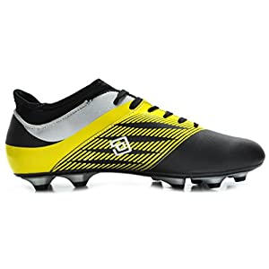 DREAM PAIRS 160861 Men's Sport Flexible Athletic Lace Up Light Weight Outdoor Cleats Football Soccer Shoes Black Silv Yellow Size 10