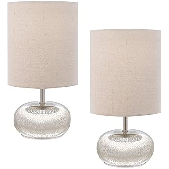Catalina 18577 000 12 Inch Mercury Glass Accent Table Lamp Set With Beige  Linen