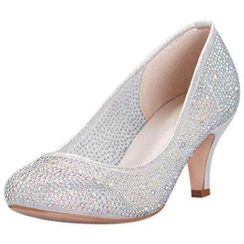 David's Bridal Round-Toe Low-Heel Crystal Pumps Style REMI, Silver, - Shoes Heel Dyeable Wedding Flats