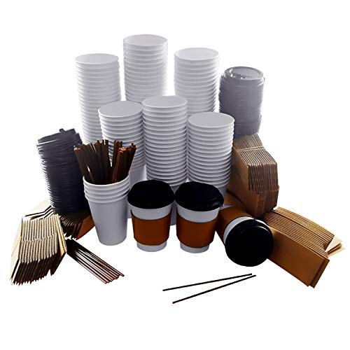MAKARA 100 Pack 12 oz Disposable Paper Coffee Cups with Lids, Sleeves and Stirring Straws, Insulated Leak Proof Cups Set for Cold/Hot Beverages Drinks Coffee Bar Party (White, 12 oz)