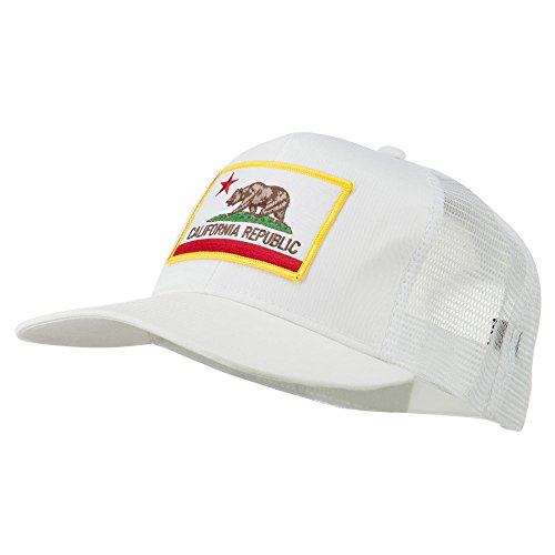 California State Flag Patched Twill Mesh Cap - White