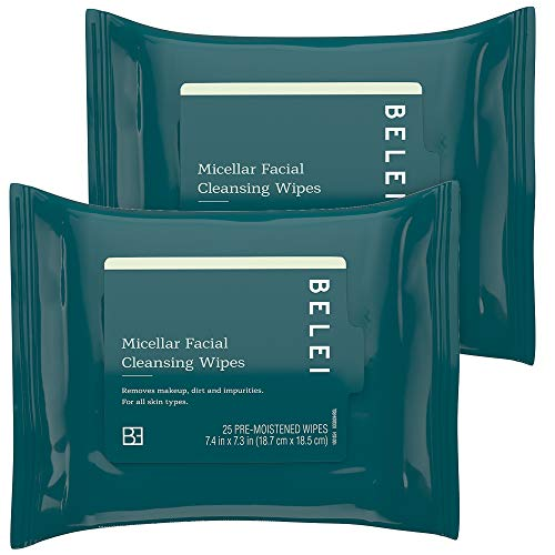 Belei Retinol Vitamin A Refining Moisturizer, Fragrance Free, Paraben Free, 1.7 Fluid Ounce (50 mL) & Oil-Free Micellar Facial Cleansing Wipes, Fragrance Free, Alcohol Free, 25 Count (Pack of 2)