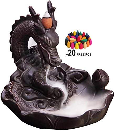 - L!GHTUP Dragon Backflow Incense Burner Ceramic Incense Holder + 20 Free Cones, for Home Decor Aromatherapy Relaxation Gifts