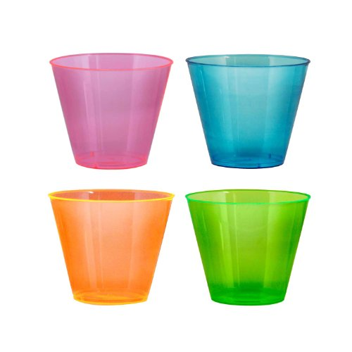 Party Essentials Hard Plastic 9-Ounce Party Cups/Old Fashioned Tumblers, 25-Count, Assorted Neon