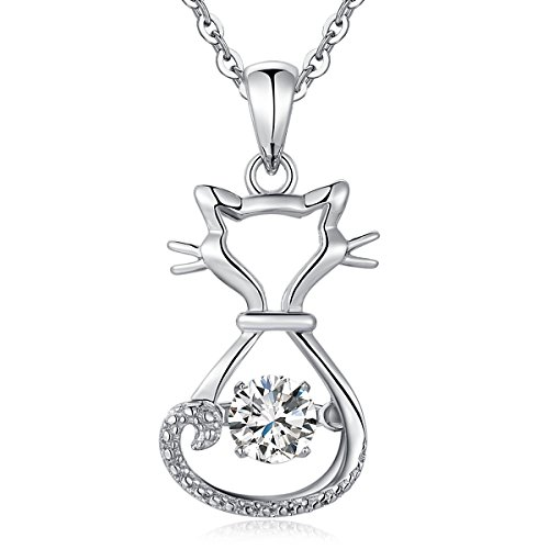 Naughty Cute Lucky Cat Pendant Necklace Dancing Diamond Cubic Zirconia Cat Necklace Platinum/18K White Gold Plated Sterling Silver for Women Fine Animal Jewelry